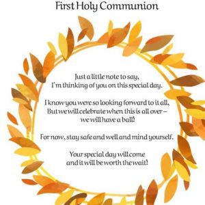 To the First Holy Communion Class & their families